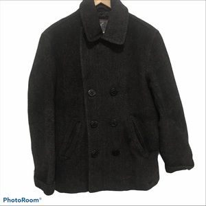 American Eagle Heavy Gray Chevron Wool Pea Coat